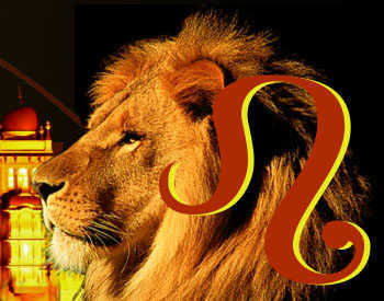 The Leo symbol beside a lion.
